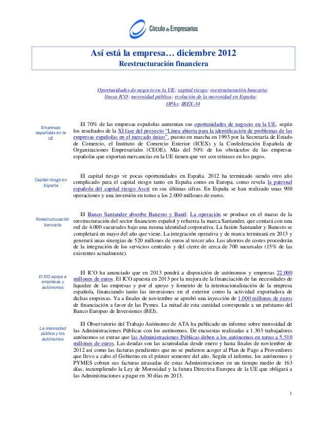 Así está la empresa… diciembre 2012                                        Reestructuración financiera                    ...