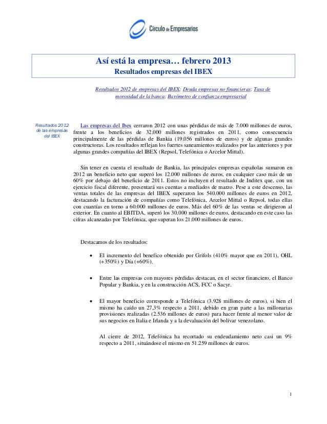 Así está la empresa… febrero 2013                                     Resultados empresas del IBEX                        ...
