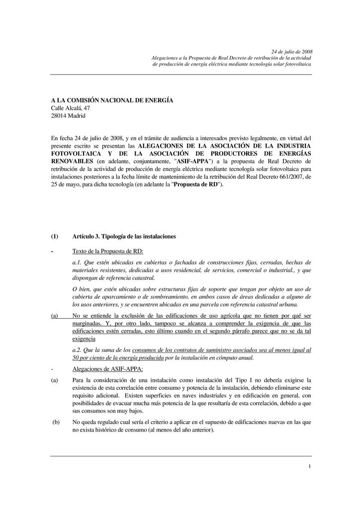 24 de julio de 2008                                          Alegaciones a la Propuesta de Real Decreto de retribución de ...