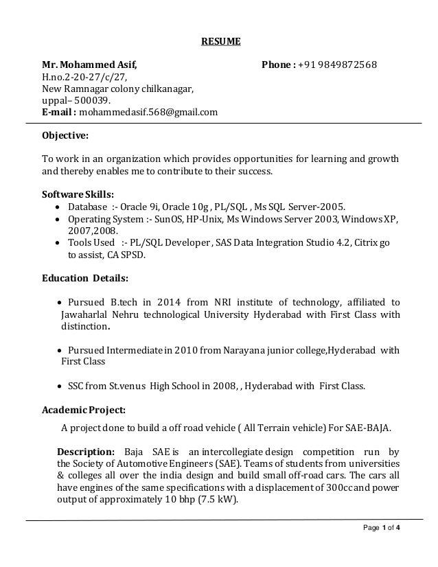 Asif icici bank resume. Page 1 of 4 RESUME Mr. Mohammed Asif, Phone : +91  9849872568 H ...