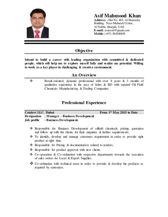 Asif Mahmood Khan CV for Sales & Marketing of Oilfield Chemicals