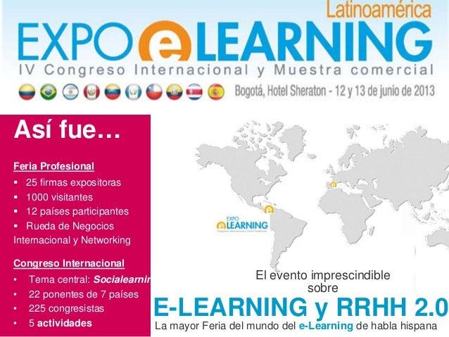 La mayor Feria del mundo del e-Learning de habla hispana El evento imprescindible sobre E-LEARNING y RRHH 2.0 Así fue… Fer...