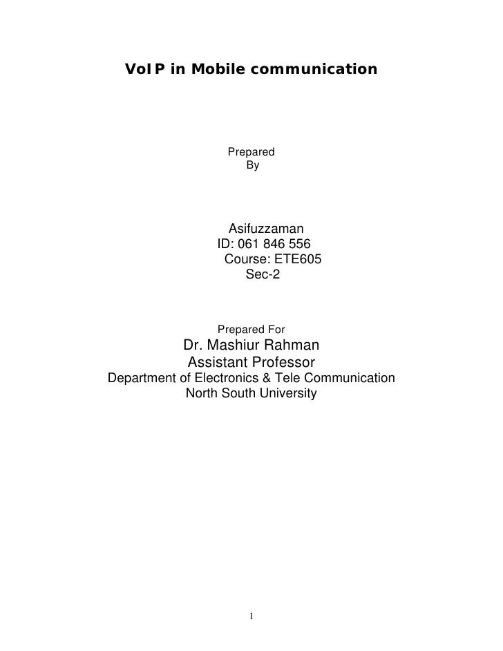 VoIP in Mobile communication                        Prepared                       By                        Asifuzzaman  ...