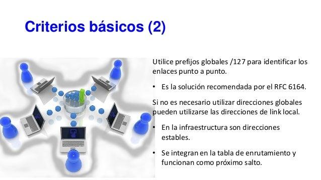 Criterios básicos (2) Utilice prefijos globales /127 para identificar los enlaces punto a punto. • Es la solución recomend...