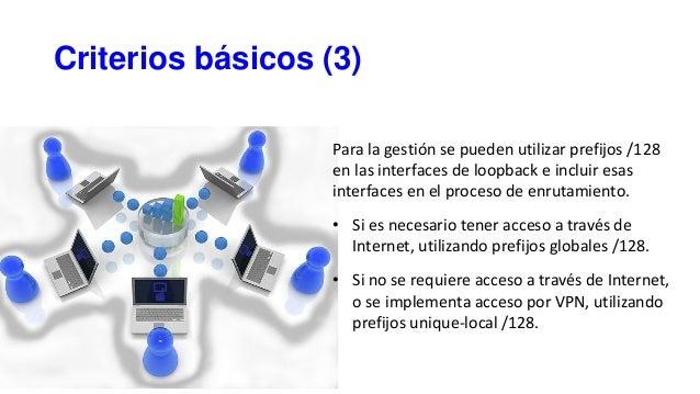 Criterios básicos (3) Para la gestión se pueden utilizar prefijos /128 en las interfaces de loopback e incluir esas interf...