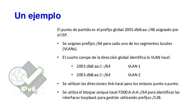 Un ejemplo El punto de partida es el prefijo global 2001:db8:aa::/48 asignado por el ISP. • Se asignan prefijos /64 para c...