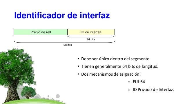 Identificador de interfaz • Debe ser único dentro del segmento. • Tienen generalmente 64 bits de longitud. • Dos mecanismo...
