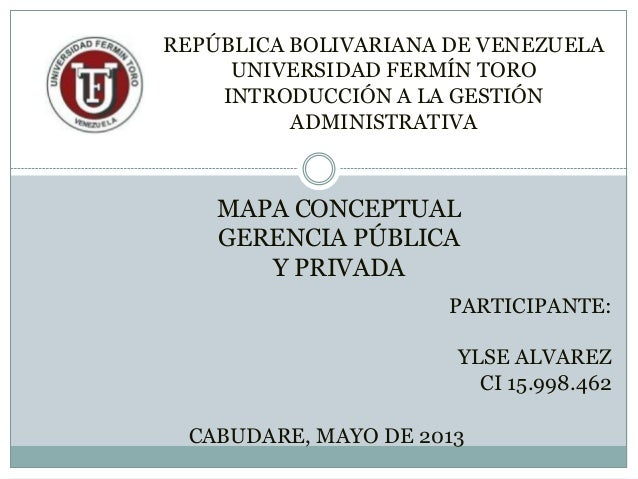 MAPA CONCEPTUALGERENCIA PÚBLICAY PRIVADAPARTICIPANTE:YLSE ALVAREZCI 15.998.462CABUDARE, MAYO DE 2013REPÚBLICA BOLIVARIANA ...