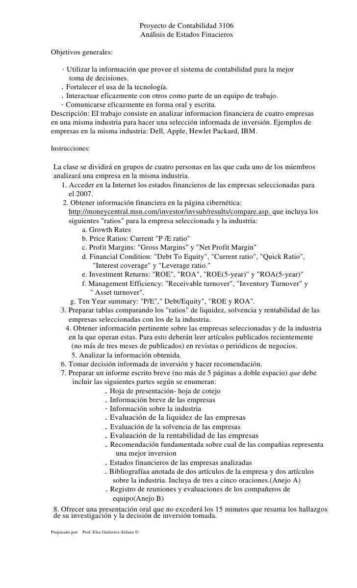 Proyecto de Contabilidad 3106                                                Análisis de Estados Finacieros  Objetivos gen...