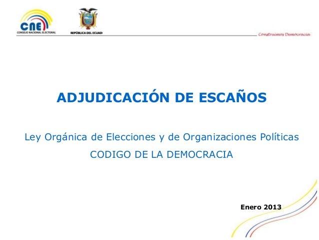ADJUDICACIÓN DE ESCAÑOSLey Orgánica de Elecciones y de Organizaciones Políticas             CODIGO DE LA DEMOCRACIA       ...