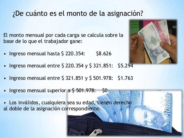 ¿De cuánto es el monto de la asignación? El monto mensual por cada carga se calcula sobre la base de lo que el trabajador ...