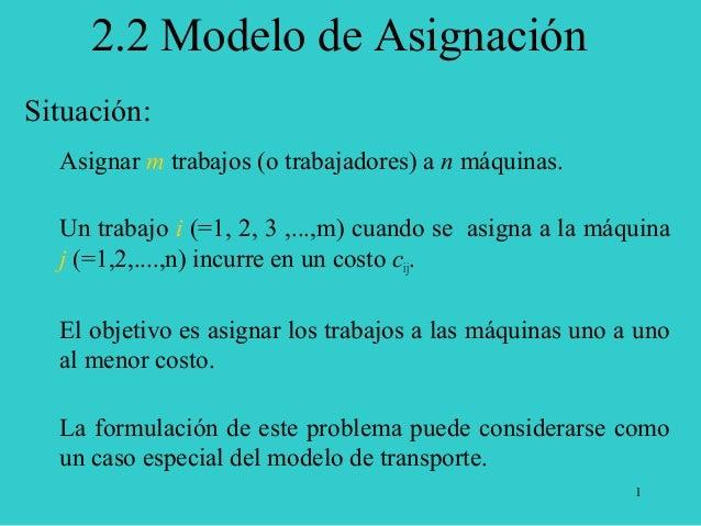 1 Situación: Asignar m trabajos (o trabajadores) a n máquinas. Un trabajo i (=1, 2, 3 ,...,m) cuando se asigna a la máquin...