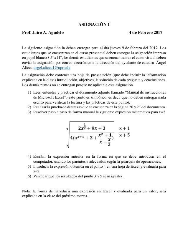 Asignacion 1 para el 9 de febrero