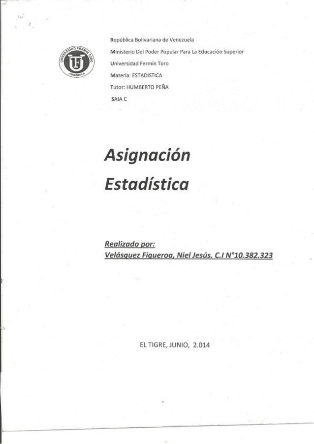 República Bolivariana de Venezuela Ministerio Del Poder Popular Para La Educación Superior  Universidad Fermín Toro     Ma...