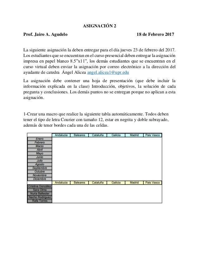 ASIGNACIÓN 2 Prof. Jairo A. Agudelo 18 de Febrero 2017 La siguiente asignación la deben entregar para el día jueves 23 de ...