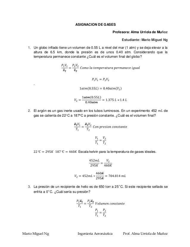 ASIGNACION DE GASES                                                            Profesora: Alma Urriola de Muñoz           ...