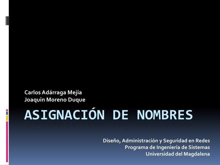Asignación de Nombres<br />Carlos Adárraga Mejía<br />Joaquín Moreno Duque<br />Diseño, Administración y Seguridad en Rede...
