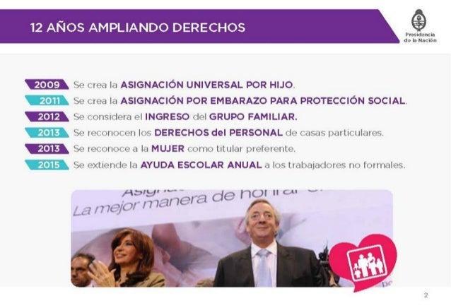 12 AÑOS AMPLIANDO DERECHOS   EEE) Se crea la ASlGNAClÓN UNIVERSAL POR HIJO.   Se crea la ASÍGNACIÓN POR EMBARAZO PARA PROT...