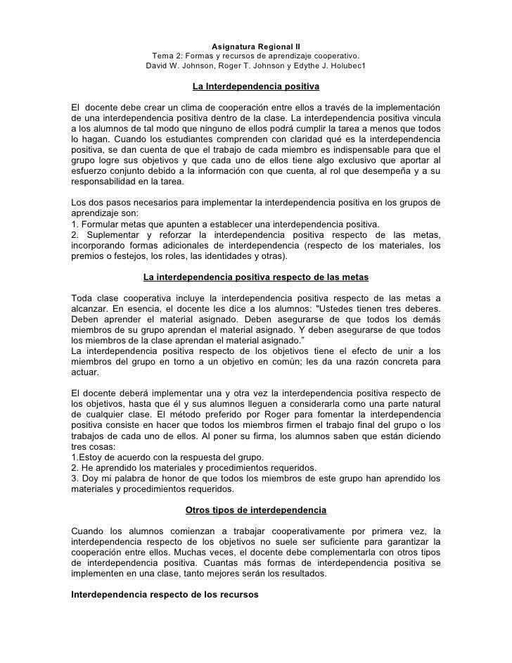 Asignatura Regional II                   Tema 2: Formas y recursos de aprendizaje cooperativo.                  David W. J...