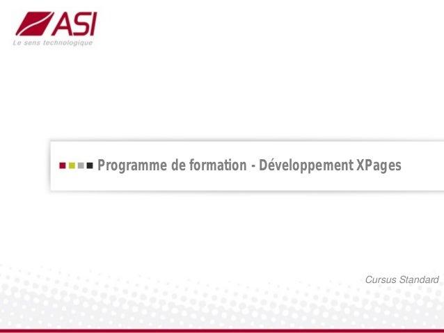 Programme de formation - Développement XPagesCursus Standard