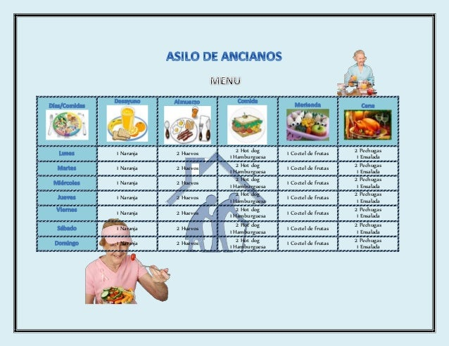 asilo de ancianos menu