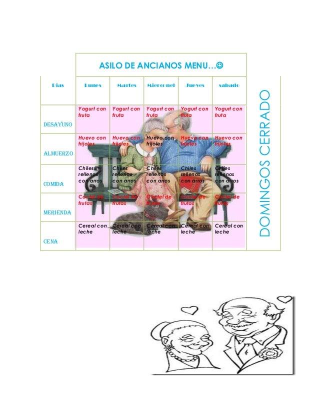 asilo de ancianos menu examen pdf