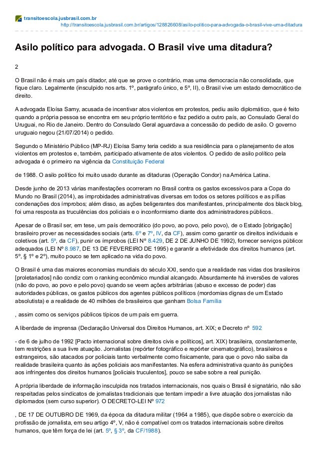transitoescola.jusbrasil.com.br http://transitoescola.jusbrasil.com.br/artigos/128826608/asilo-politico-para-advogada-o-br...
