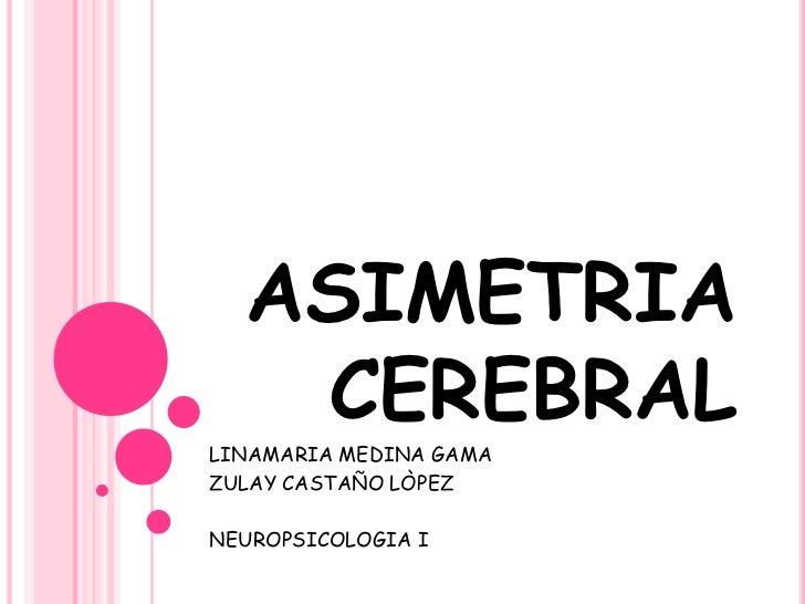 ASIMETRIA CEREBRAL<br />LINAMARIA MEDINA GAMA<br />ZULAY CASTAÑO LÒPEZ<br />NEUROPSICOLOGIA I<br />