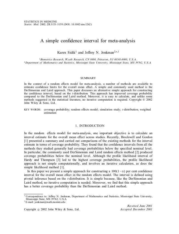 STATISTICS IN MEDICINEStatist. Med. 2002; 21:3153–3159 (DOI: 10.1002/sim.1262)                A simple conÿdence interval ...