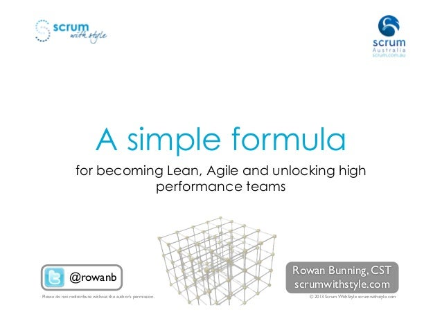 A simple formula                 for becoming Lean, Agile and unlocking high                            performance teams ...