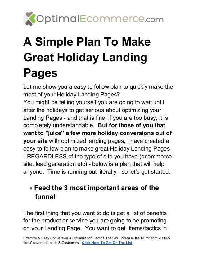 A Simple Plan To MakeGreat Holiday LandingPagesLet me show you a easy to follow plan to quickly make themost of your Holid...