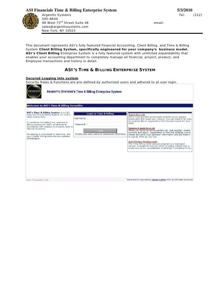 ASI Financials Time & Billing Enterprise System                                               5/3/2010           Argentto ...