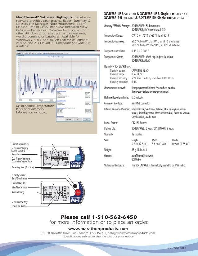 Marathon Products 7061 3CTemp-RH Multi-Use Temperature and Humidity Logger