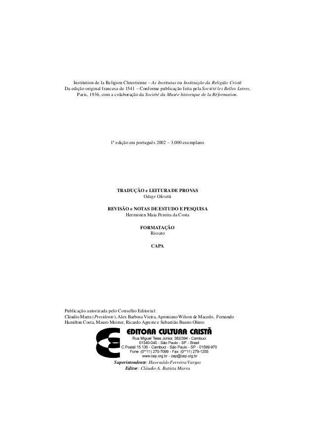 AS INSTITUTAS - VOLUME I - ESTUDO - JOÃO CALVINO Slide 2