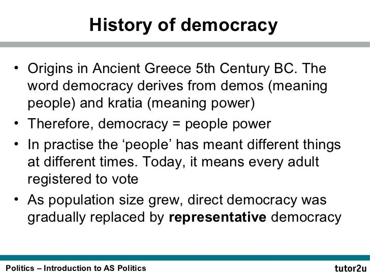 an introduction to the history of democracy Find information and resources on australia's history  explains australia's primary constitutional documents and traces the shaping of australian democracy and.