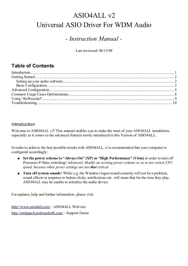 Asio4 all v2 instruction manual