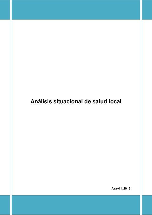 Análisis situacional de salud local                               Ayaviri, 2012