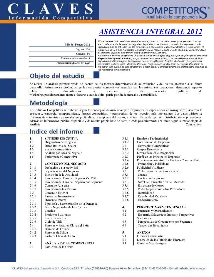 ASISTENCIA INTEGRAL 2012                                                    El presente estudio analiza la situación actua...