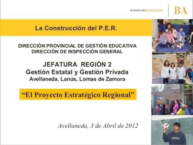 La Construcción del P.E.R.DIRECCIÓN PROVINCIAL DE GESTIÓN EDUCATIVADIRECCIÓN DE INSPECCIÓN GENERALJEFATURA REGIÓN 2Gestión...