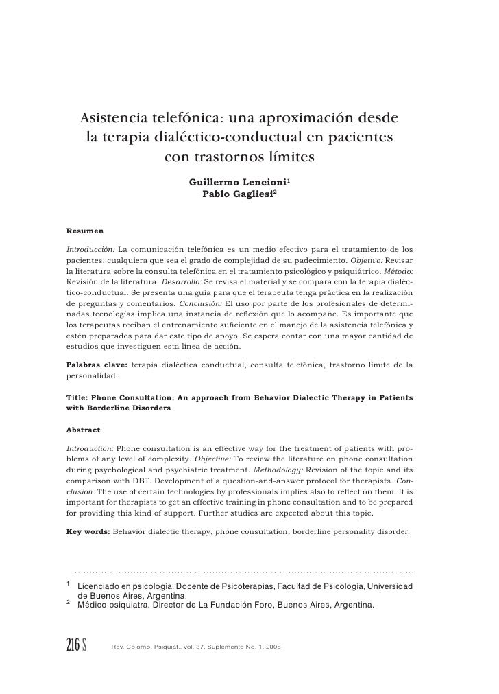 Asistencia telefónica: una aproximación desde      la terapia dialéctico-conductual en pacientes                  con tras...