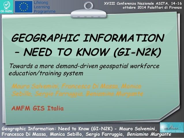 XVIII Conferenza Nazionale ASITA, 14-16  ottobre 2014 Palaffari di Firenze  GEOGRAPHIC INFORMATION  – NEED TO KNOW (GI-N2K...