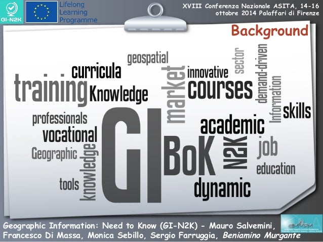 GEOGRAPHIC INFORMATION – NEED TO KNOW (GI-N2K) Towards a more demand-driven geospatial workforce education/training system Slide 3