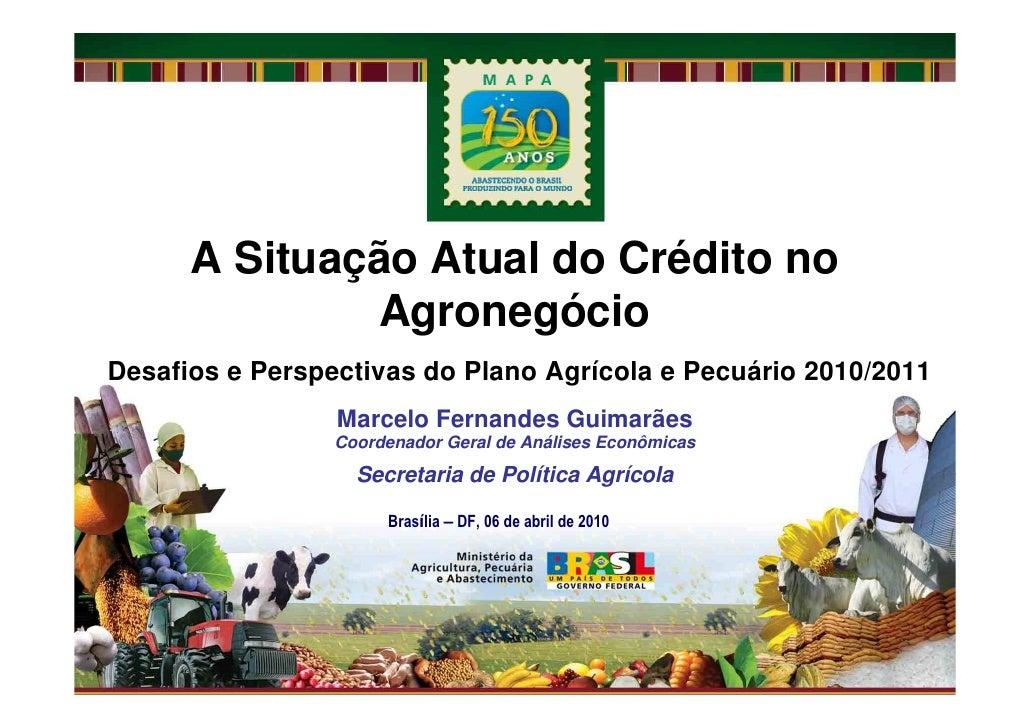 A Situação Atual do Crédito no               Agronegócio Desafios e Perspectivas do Plano Agrícola e Pecuário 2010/2011   ...