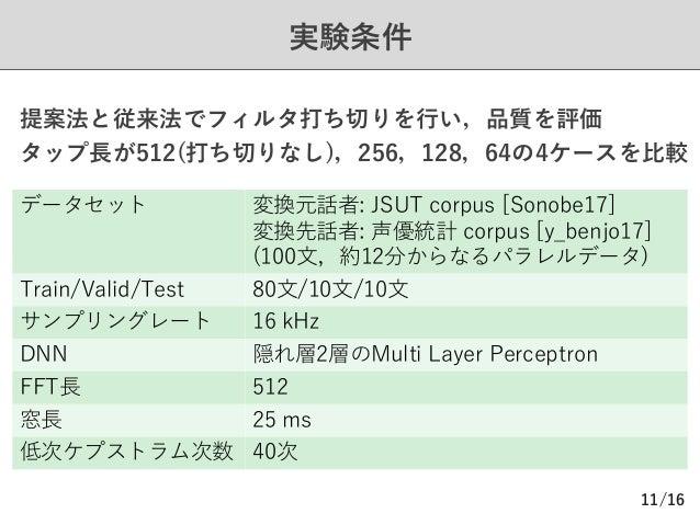 /16 実験条件 11 データセット 変換元話者: JSUT corpus [Sonobe17] 変換先話者: 声優統計 corpus [y_benjo17] (100⽂,約12分からなるパラレルデータ) Train/Valid/Test 80...