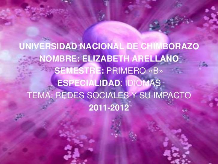 UNIVERSIDAD NACIONAL DE CHIMBORAZO    NOMBRE: ELIZABETH ARELLANO       SEMESTRE: PRIMERO «B»       ESPECIALIDAD: IDIOMAS T...