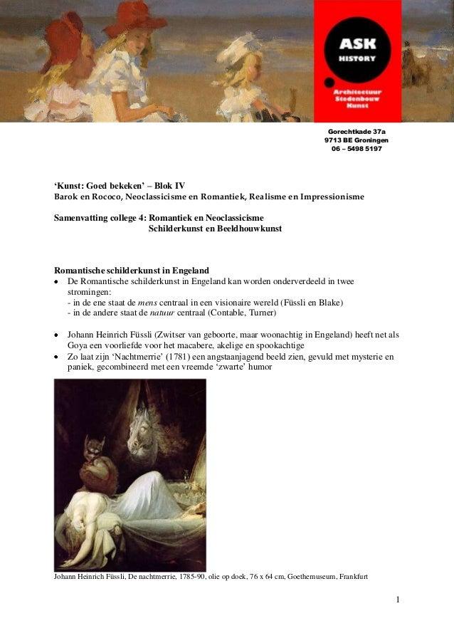 1 'Kunst: Goed bekeken' – Blok IV Barok en Rococo, Neoclassicisme en Romantiek, Realisme en Impressionisme Samenvatting co...