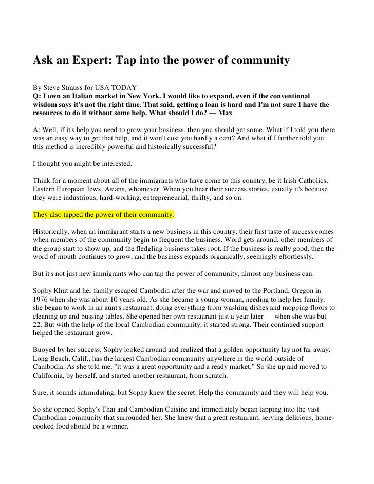 Ask an Expert: Tap into the power of community<br />By Steve Strauss for USA TODAY<br />Q: I own an Italian market in New ...