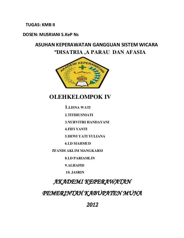 "TUGAS: KMB II DOSEN: MUSRIANI S.KeP Ns  ASUHAN KEPERAWATAN GANGGUAN SISTEM WICARA ""DISATRIA ,A PARAU DAN AFASIA  OLEHKELOM..."
