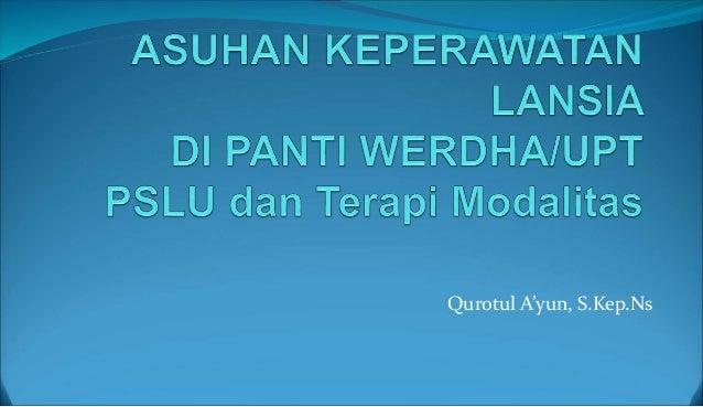 Askep Lansia Panti Werdha