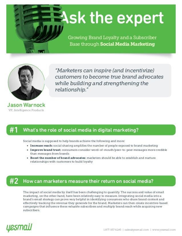 Growing Brand Loyalty and a Subscriber Base through Social Media Marketing Jason Warnock VP, Intelligence Products 1.877.9...